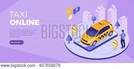 Online Orders Taxi From Smartphone Distance Technology Taxi Service Landing Page Advertising 24 Hour