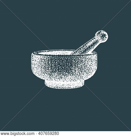 Mortar And Pestle. Vector Illustration Of Pounder.