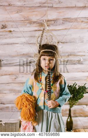 Little Indian Girl. Indie. Hipster Little Girl.