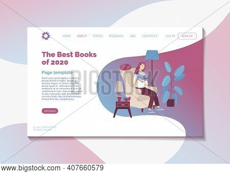 The Best Books Of 2020 Year. Top Rated Literature Books Landing Page Template. Web Banner With Young