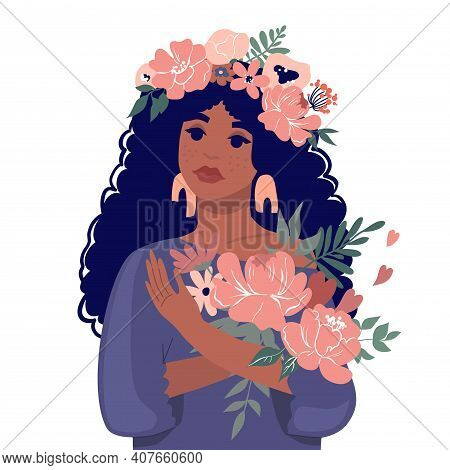 A Cute Black Girl Holding A Bouquet Of Flowers. Vector Stock Illustration. Design For The Holiday Of
