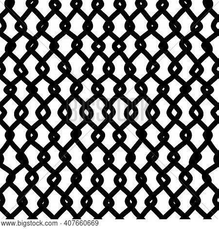Twisted Freehand Lines Seamless Pattern. Ink Hand-drawn Irregular Thick Strokes Line Art. Monochrome
