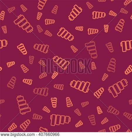 Brown Line Pan Flute Icon Isolated Seamless Pattern On Red Background. Traditional Peruvian Musical