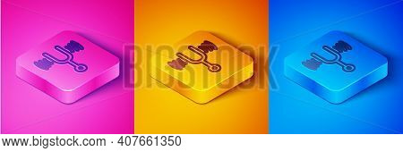 Isometric Line Musical Tuning Fork For Tuning Musical Instruments Icon Isolated On Pink And Orange,