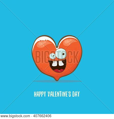 Vector Valentines Day Greeting Card With Funny Cartoon Heart Character Isolated On Blue Background.