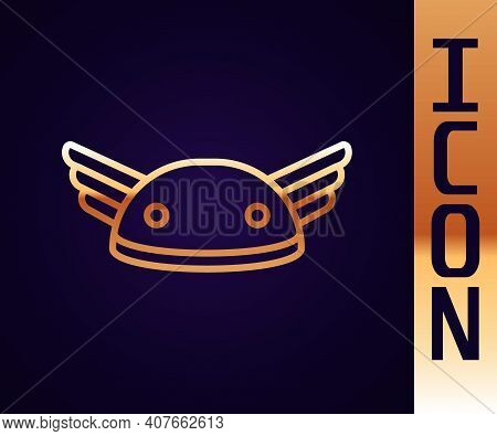 Gold Line Helmet With Wings Icon Isolated On Black Background. Greek God Hermes. Vector