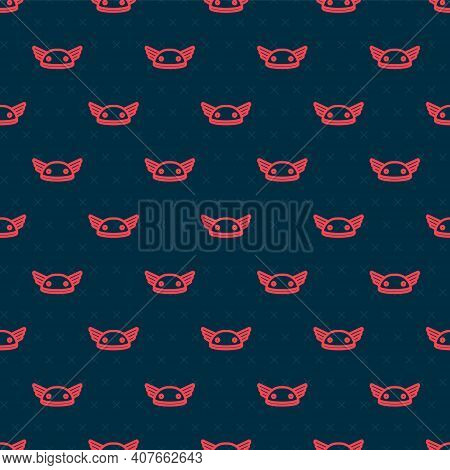 Red Line Helmet With Wings Icon Isolated Seamless Pattern On Black Background. Greek God Hermes. Vec