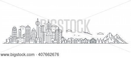 Panorama Of A Big City Metropolis With Modern Buildings And Skyscrapers