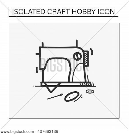 Sewing Hand Draw Icon.vintage Sewing Machine.handmade Fashion Activity. Relaxed Hobby Concept. Isola