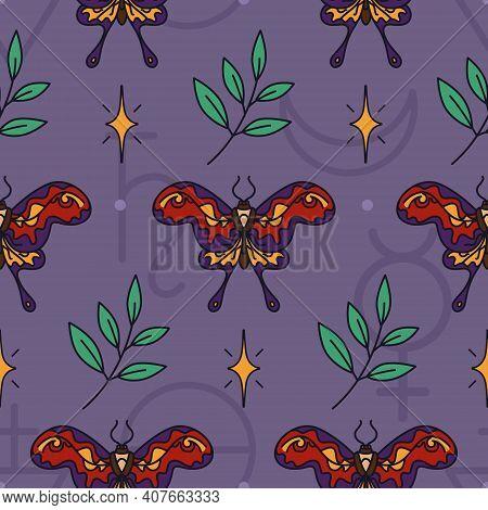 Seamless Wicca Pattern With Hummingbird Hawk-moths, Stars And Twigs. Dark Magic - Esoteric Print Des