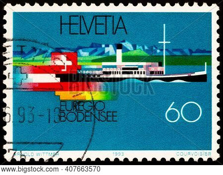 Moscow, Russia - February 10, 2021: Stamp Printed In Switzerland Shows Restored Paddle Steamer Hohen