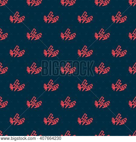 Red Line Zeus Icon Isolated Seamless Pattern On Black Background. Greek God. God Of Lightning. Vecto