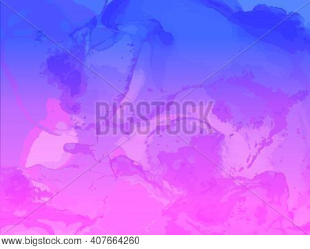 Abstract Fluid. Pink Blue Vector Motion. Modern Flow Pattern. Alcohol Inks Paint Texture. Futuristic