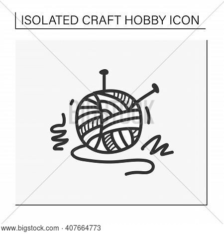 Knitting Hand Draw Icon. Needle Pins And Wool Clew Ball. Creative Hobby. Handmade Knitting Concept.