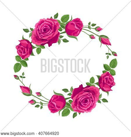 Wreath, Garland Of Pink Roses. Vector Flower Decoration For Cards, Greetings. Valentine's Day, Mothe