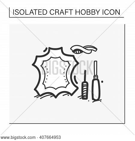 Leatherworking Hand Draw Icon. Leather Material And Instruments. Creative Hobby. Handmade Concept. I