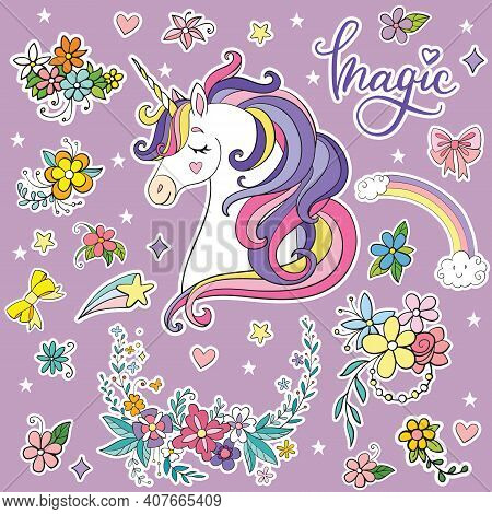 Set Of Dreaming Cartoon Unicorn With Magic Elements. Vector Isolated Illustration. For Postcard, Pos