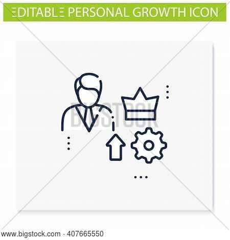 Self Esteem Building Line Icon. Personal Assessment. Personal Growth Concept. Self Improvement And S