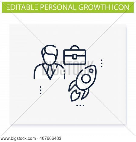 Career Improvement Line Icon. Personal Growth Concept. Self Improvement And Self Realization. Career