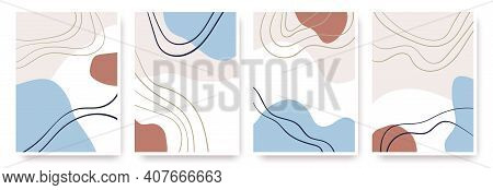 Abstract Shapes Hand Drawn Set. Contemporary Modern Trendy Vector Backgrounds.