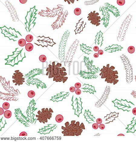 Seamless Background With Pine Cones, Fir Branches And Berries. Winter Repeating Pattern For Design A