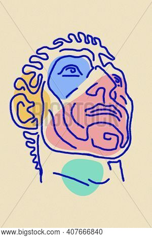 Line Drawing Of Surreal Face. Modern Art Creative Image With Strict Stern Man. Crazy Contemporary Dr