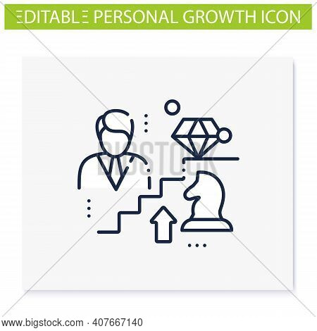 Personal Growth Strategies Line Icon. Personal Growth Concept. Self Improvement Strategies And Self