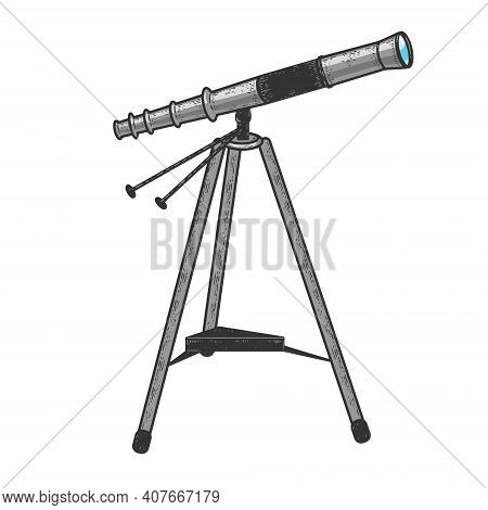 Telescope Spyglass Monocular Color Sketch Engraving Vector Illustration. T-shirt Apparel Print Desig