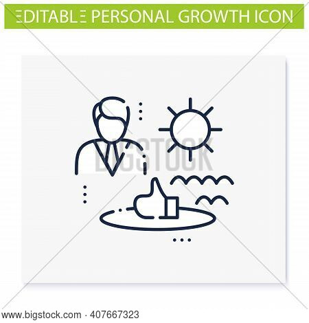 Comfort Zone Line Icon. Route To Success. Self Improvement And Self Realization. Business And Career