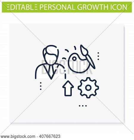 Talents Development Line Icon. Personal Growth Concept. Self Improvement And Talent Acquisition.pers