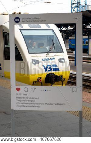 Ukraine, Kyiv - October 10, 2020: Ukrainian Railway. Electric Train. Machined In The Pub. Express Tr