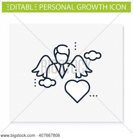 Spiritual Identity Line Icon. Personal Growth Concept. Self Identity. Meaning And Ultimate Existence