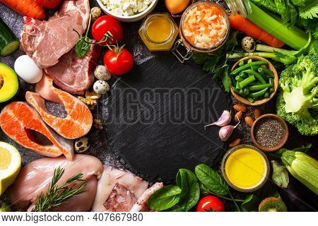 Paleo Diet Concept. Raw Foods High Protein And Low Carbohydrate Products, Ingredients For Healthy Fo