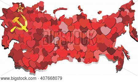 Soviet Union Map Made Of Hearts Background - Illustration,  Abstract Soviet Union Map