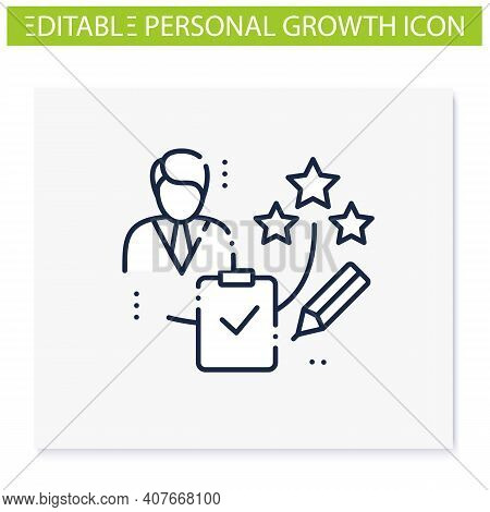 Personal Assessment Line Icon.personal Growth Concept. Self Improvement And Self Realization. Busine