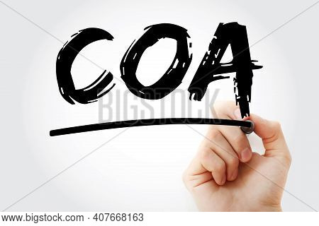 Coa - Chart Of Account Acronym With Marker, Business Concept Background