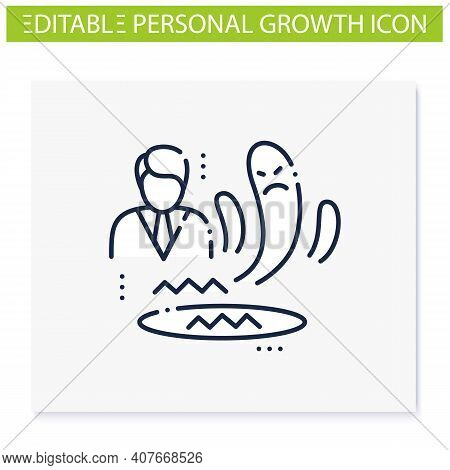 Fear Zone Line Icon. Route To Success. Self Improvement And Self Realization. Business And Career De