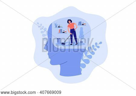 Tiny Person Cleaning Space Inside Human Head, Moping Floor. Person Working On Clear Mind And Mental