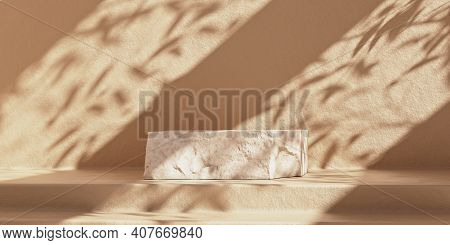 White Piece Of Stone Slab For Product Display. Product Podium With Shadows On The Wall. 3d Rendering