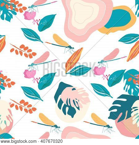 Dragonflies And Medinilla Showy Flowers Seamless Pattern.pink Tropical Bushes,big Monstera Leaves Wi