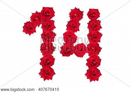 Numeral 14 Made Of Red Roses On A White Isolated Background. Red Roses. Element For Decoration. Four