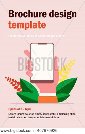 Mobile Phone In Hand Flat Vector Illustration. Cartoon Hand Holding Mobile Phone, Making Blank Scree