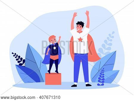 Dad And Little Son Playing Superhero. Father And Child Having Fun Together. Flat Vector Illustration