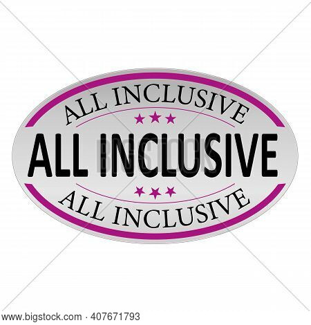 All Inclusive Three-dimensional Oval Button Isolated On White Background