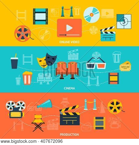 Cinema Movie Premiere Tickets Video Online Film Production Retro Symbols  Horizontal Banners Set Abs