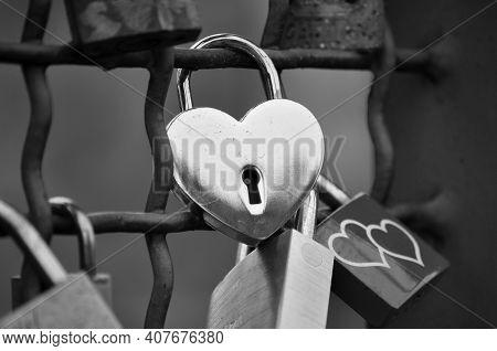 Heart-shaped Padlock, A Symbol Of Eternal Love. The Hohenzollern Bridge, Cologne,germany, Europe. Bl