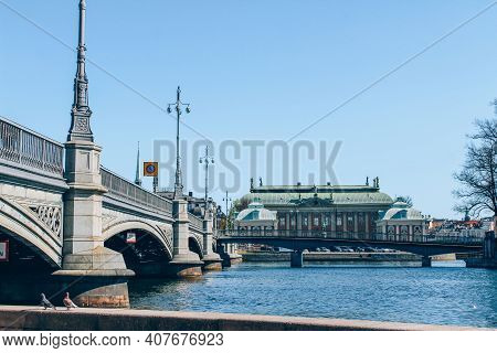 Stockholm, Sweden - May 1, 2019 : Scenic Sunny Day Panorama Of Stockholm City Center From Bridge. Ci