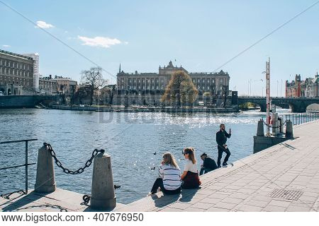 Stockholm, Sweden - May 1, 2019 : Scenic Sunny Day Panorama Of Stockholm City Center. Tourists And C