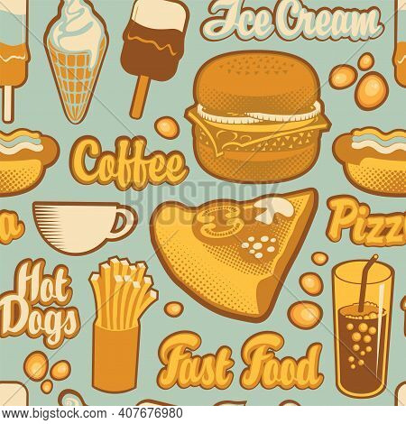 Seamless Pattern On The Theme Of Fast Food Menu With Inscriptions And Drawings In Retro Style. Carto