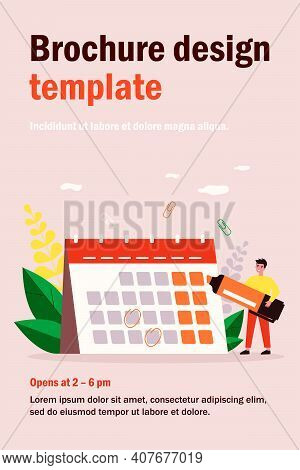 Young Man With Marker Checking Events In Calendar Flat Vector Illustration. Cartoon Office Employee